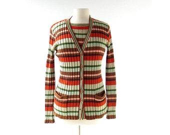 Striped Sweater Set | La Banda | 1970s Cardigan | 70s Striped Sweater | XS S