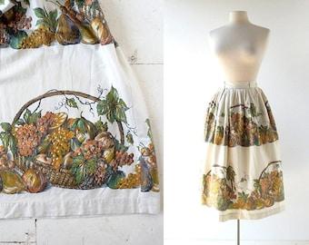 Vintage 1950s Skirt   Farmers Market   Novelty Print Skirt   Full Skirt   25W XS