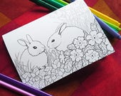Nature Colouring Cards Pack - bunnies, butterflies, frogs and flowers! Blank cards set, any occasion. Kids activity - adult coloring - craft