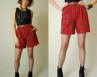 RESERVED Punk Plaid Shorts Vintage 80s Red Preppy Plaid High Waist Indie Urban Shorts (s m)