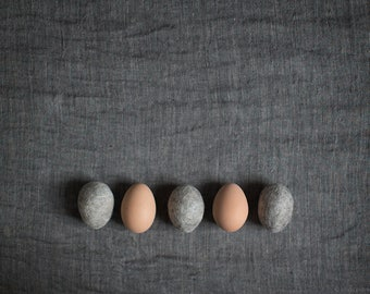 Natural gray marble felted eggs - Eco friendly Easter home decor - Set of three Easter basket filler egg hunt - Stone like rustic ornament