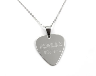 Bible Verse Necklace - Scripture Necklace - Guitar Pick Necklace - Personalized Necklace - Stainless Steel Necklace - Engraved Guitar Pick