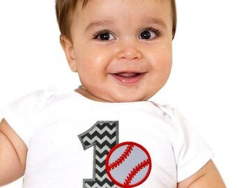 Baseball Onesie Bodysuit Personalized with Embroidered FIRST BIRTHDAY Year One Appliqué - Your Custom Name
