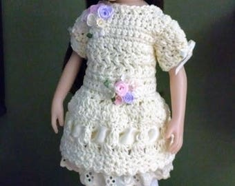 Cream-Colored Crocheted Dress & Hat for Little Darlings and Maru Mini Pals Dolls
