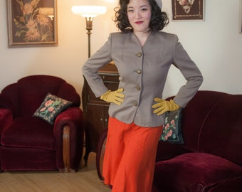 Vintage 1940s Jacket - Versatile Taupe Wool Strong Shoulder 40s Suit Blazer