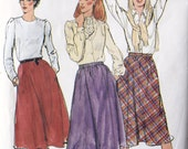 1980's Butterick 3496 Vintage Sewing Pattern Elastic Waist Flared Skirt Bias or Princess Seamed Options Fast and Easy UNCUT Size 10 Waist 25