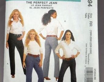 McCall's 5894 - Perfect Jeans DIY - Classic Fit - Curvy Plus Size Pants - Size 18W, 20W, 22W, 24W - Waist 33 - 39 - UNCUT Sewing Pattern