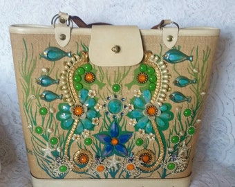 Enid Collins,  Vintage Handbag,Beautiful, featuring a Sea Garden II Motif, Gorgeous, Purse