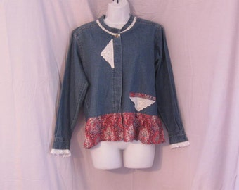 Vintage Lace and Paisley Print Upcycled Denim Shirt, Denim Jacket size Petite Small