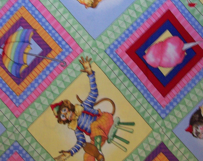 Children's Out Of Print Fabric, Circus Menagerie Cotton Fabric by J Wecker Frisch