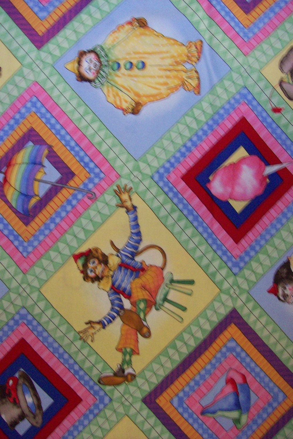 Children 39 s out of print fabric circus menagerie cotton for Childrens patterned fabric