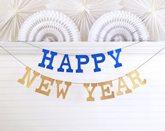 Happy New Year Banner New Years Eve Party Decor - Glitter 5 inch Letters - Happy New Year Garland New Years Eve Sign Gold Banner New Year
