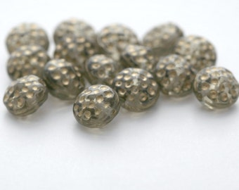 Vintage Czech Glass Gray Gold Dimpled Coin Pillow Beads 8mm (16)