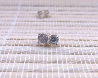 White Topaz Stud Earrings Sterling Silver 4mm April Birthstone