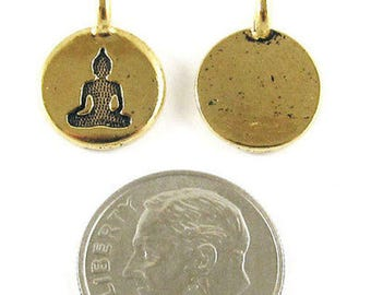 TierraCast Pewter Charms-GOLD ROUND BUDDHA 12x16mm (2)