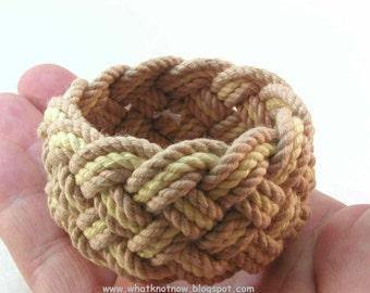tan rope bracelet wide bracelet armband turks head knot sailor bracelet nautical jewelry rope jewelry 3144