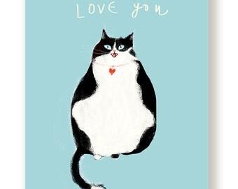 Love You Cat Card - Black & White Cat  - Love Card - Sympathy Card