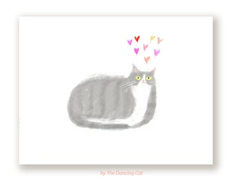 Little Grey  Cat Card - Love Card - Love You