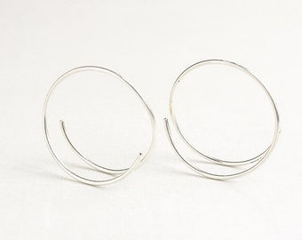 Small silver hoops, unique hoops, small circle earrings