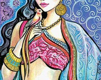 Mermaid art, girl with bird, wall decor, Indian decor, poster woman wall print 8x12+