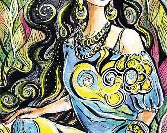 Beautiful eastern woman painting Indian decor affordable art gifts artart giclee, feminine decor, beauty painting print 8x12+