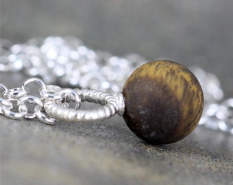 Matte Tiger Eye Pendant - Rustic Tiger Eye Necklace - Sterling Silver Layering Necklace - Brown Gemstone Pendant for Men and Women