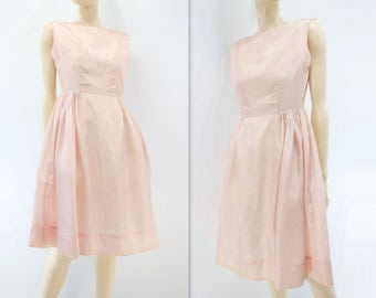 60s Blush Pink Dress Vintage 60s Dress Peach Party Dress 1960s Vintage Dress Summer Party Dress Peach Pink Dress Fit and Flare Dress s