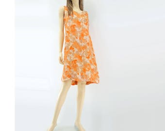 60s Sheath Dress 60s Shift Dress Vintage Orange Dress Floral Dress 1960s Sun Dress Sleeveless Dress xs / s