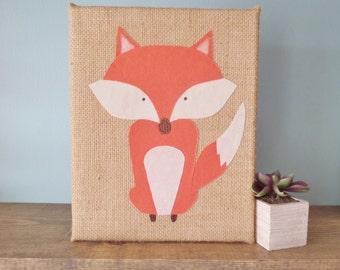 Woodland fox sign, Burlap fox sign, fabric fox, woodland animals, woodland nursery, fox sign, handmade sign, rustic nursery, fox wall decor