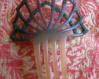 Antique Celluloid Comb, Celluloid Mantilla Comb,  Art Deco Hair Comb, Exotic Vintage Hair Comb, Green Celluloid Green Rhinestones Hair Comb