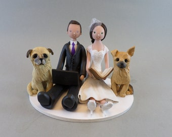 Seated Couple with Dogs Custom Made Wedding Cake Topper