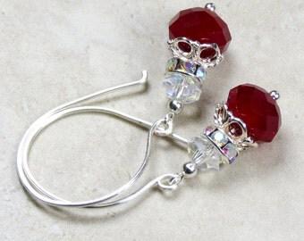 Rich Ruby Red Crystal Earrings, Red Earrings, Faceted Red Crystal Earrings, Christmas Earrings, Holiday Earrings, Sterling Silver