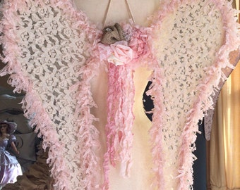 Country Romance Angel Wings Burlap Rose Lace Decor