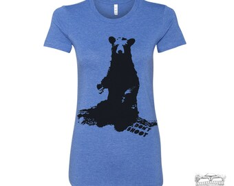Womens BEAR (don't shoot) hand screen printed T Shirt s m l xl xxl (+ Colors Available)