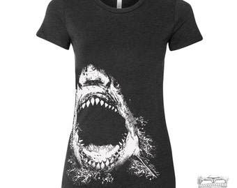 Womens SHARK tee T Shirt -hand screen printed s m l xl xxl (+ Colors Available)