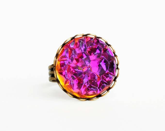 Iridescent Purple Orange Crystal Ring Large Vintage AB Glass Druzy Drusy Ring Statement Jewelry Glamorous Statement