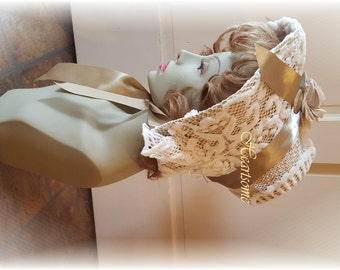 Regency hat bonnet Jane Austen ivory lace taupe satin ribbon OOak costume stage