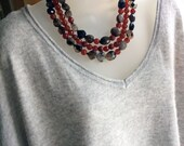 Multistrand Necklace   Agate and Carnelian Necklace   Holiday Necklace    Semi-Precious Stone Necklace
