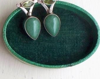 Sajen Sterling Peridot Earrings - Pierced, Posts, Sterling, 925, Chalcedony, Sajen