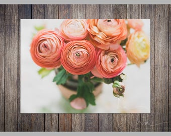 pink ombre print ranunculus bouquet rustic home decor bedroom decor entry way decor pink decor large wall art