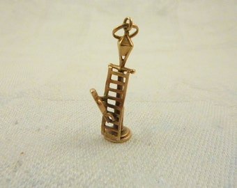 Antique Victorian Lamplighter 14K Gold Charm
