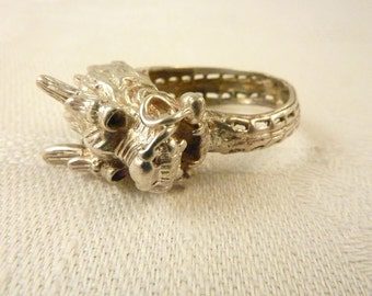 Vintage Sterling Silver Chinese Dragon Wrap Ring Size 7