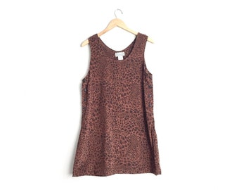 SALE // Size M // LEOPARD PRINT Jumper // Black & Brown - Microsuede Pinafore - Sleeveless Shift Dress - Vintage '90s.