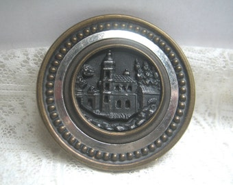 Antique Large Picture Button Italian Villa