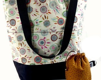 Stand up Tote XL Knitting Crochet Project Bag - Dreamcatcher