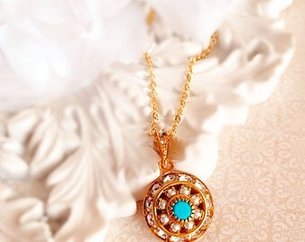 Art Deco Necklace - Turquoise - Beach Wedding - Sparkle - AURORA Pacifica