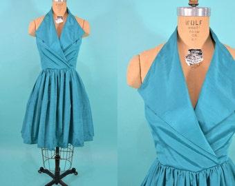 "1980s party dress | 80s does 50s turquoise halter mini dress | vintage 80s dress | S W 26"""