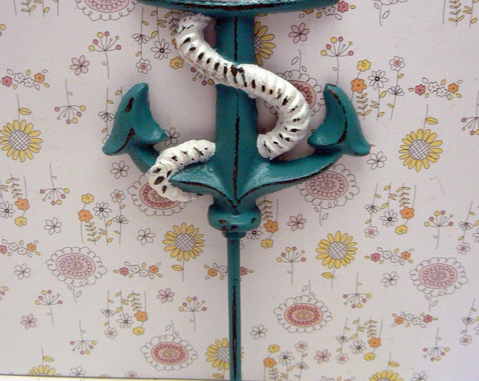Anchor Cast Iron Wal Hook Teal Blue Shabby Chic Cottage Chic Beach Nautical Home Decor