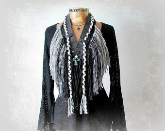 Mori Girl Scarf Tribal Style Fringed Necklace Rustic Boho Scarf Hippie Jewelry Grey Black Art To Wear Shaggy Yarn Scarf Eco Friendly 'JUNI'