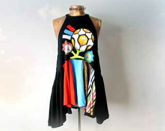 Colorful Tank Shirt Boho Women's Clothes Alter Couture Summer Fashion Layered Black Tunic Hippie Chic Clothing Lagenlook Top  L XL 'CAITLYN